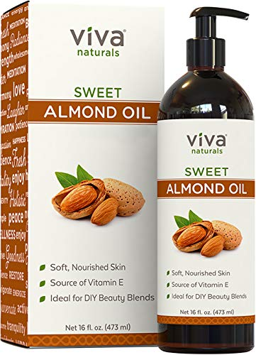 Viva Naturals Sweet Almond Oil, 100% Pure and Hexane Free, Ideal for Skin and Hair DIYs (16 fl oz) (Adding Essential Oils To Shampoo For Hair Loss)