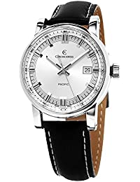 Grand Pacific Men's Silver Dial Black Leather Strap Automatic Swiss Watch CH-2883B-SI