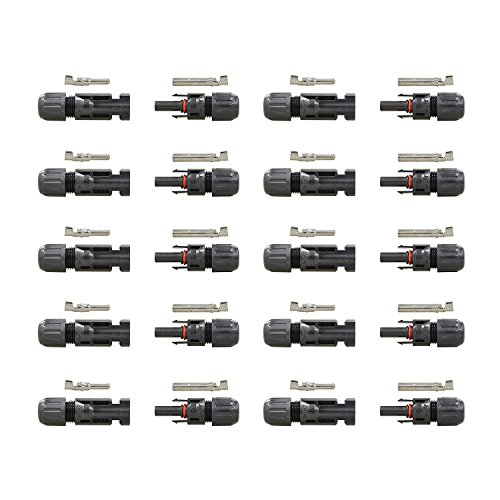 HQST MC4 Male/Female Solar Panel Cable Connectors (10 Pairs)