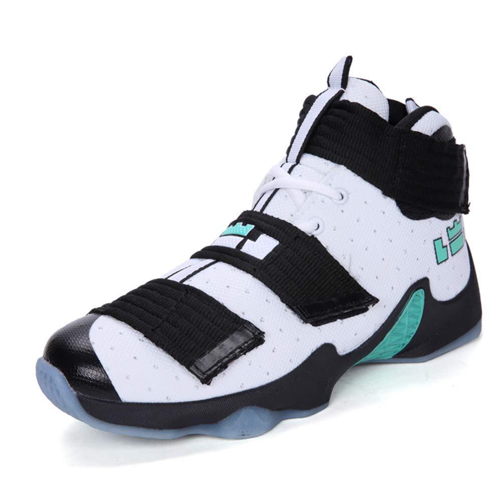 ZHRUI Herren Basketballschuhe für Outdoor High Top Knöchel Boost Sportschuhe (Farbe   Weiß, Größe   6.5=40 EU)