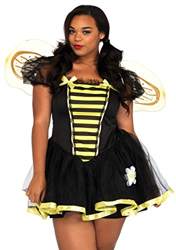Plus Size Bumble Bee Adult Costumes (Leg Avenue Women's Plus-Size Daisy Bee Costume, Black/Yellow, 1X-2X)