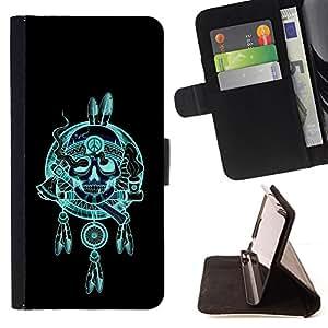 /Skull Market/ - INDIAN CHIEF FEATHERS HATCHET SKULL For HTC Desire 820 - Caja de la carpeta del tir???¡¯???€????€?????????