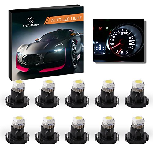YITAMOTOR 10X White LED T3 Neo Wedge 1210-1 SMD LED Dash Climate Gauge Light Bulbs 8mm
