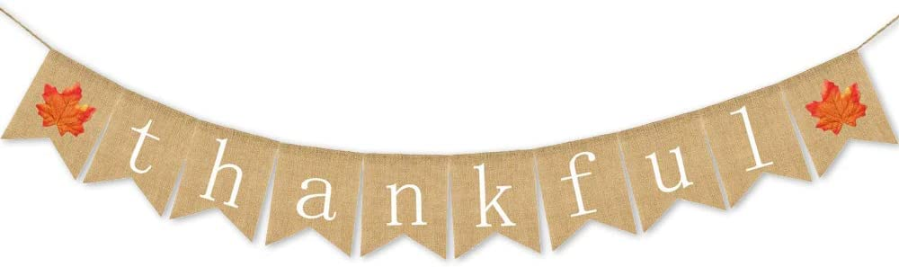 Thanksgiving Banner Thankful Banner Burlap - Thanksgiving Decoration | Fall Banner| Thanksgiving Decor