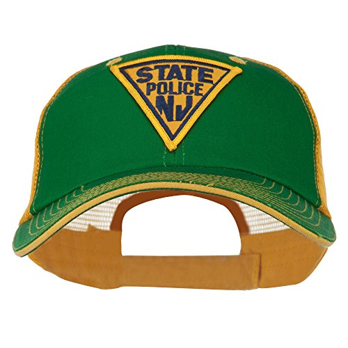 - Big Size New Jersey State Police Patched Mesh Cap - Kelly Gold OSFM