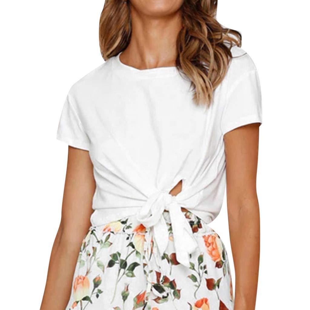 YEZIJIN Women's Casual Short Sleeves Tops Short Sleeve T Shirts Lose Tank Tops Fashion 2019 Under 10 Dollars White