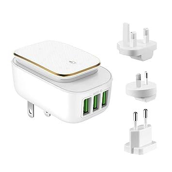 Alitoo Cargador USB 3 Puertos Adaptador de Corriente Móvil Cargador de Pared Portatil Cargador de Viaje Universal Rapido Charge para Smartphone Tablets iPad ...