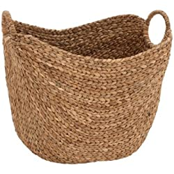 "Deco 79 Large Seagrass Woven Wicker Basket with Arched Handles, Rustic Natural Brown Finish, as Coastal Decorative Accent or Storage, 21"" W L x 17"" H"