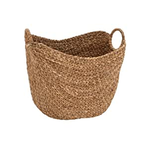 amazon com deco 79 large seagrass woven wicker basket with arched