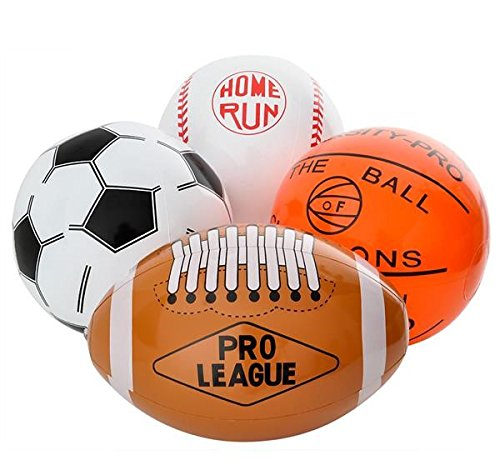 "- 12-Pack 16"" Inflatable Sport Beach Balls - 3x Basketballs, 3x Baseballs, 3x Footballs, 3x Soccer Balls, Sports Party Decorations and Party Favors for Parties, 12 Safe & Strong Super Fun Inflated Toys"