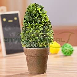 EUTTEUM Tree Sapling Green Plants Plastic Fabric Home Table Decor Potted
