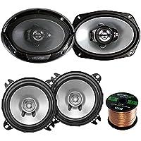 2 Pair Car Speaker Package Of 2x Kenwood KFC-C1055S 210-Watt 4 Inch Black Dual Cone Speakers - Bundle Combo With 2x KFC6965S 6x9 400 Watt 3-Way Audio Speaker + Enrock 16g 50 Ft Speaker Wire