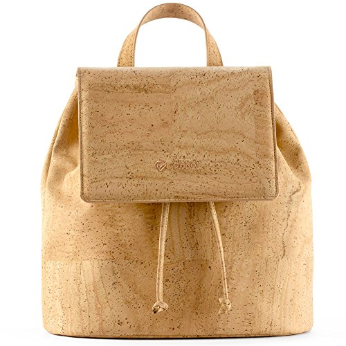 Corkor Cork Backpack - Vegan Handbag For Women Top Flap Back Pack Travel School Natural by Corkor