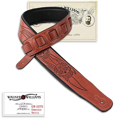 Walker & Williams GM-1275 Sienna Brown Padded Guitar Strap with Embossed Skulls