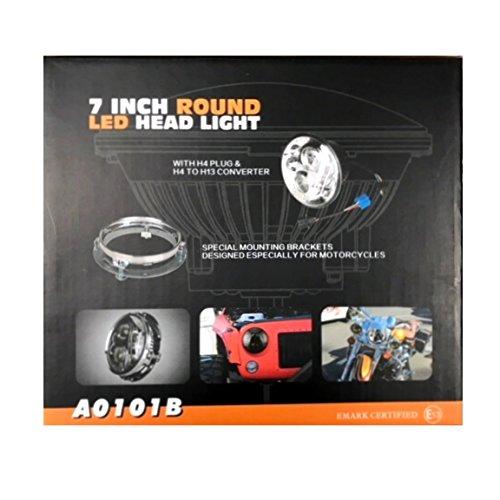 7インチ 丸型 LED ヘッドライト Φ175 ハーレーヘッドライト HI/LO 自動車LEDライト ブラック AH4プラグ&H4/H13変換 A0101B B078N44MB9