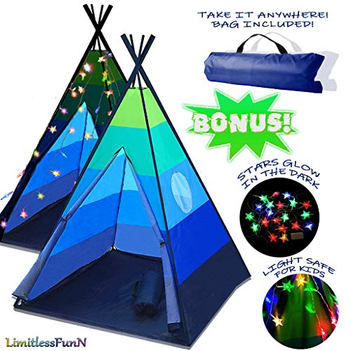 LimitlessFunN Teepee Kids Play Tent Bonus Star Lights & Carrying Case for Girls & Boys, Indoor & Outdoor Use (Blue) ()