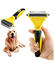 Disgian Pet Dematting Comb, 2 Sided Undercoat Rake for Cats&Dogs Pet Grooming Tool Removes Undercoat Mats for Small Medium and Large Breeds with Medium and Long Hair for Pet Brush Tool