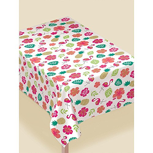 Amscan Party Supplies Aloha Fannel-Backed Vinyl Table Cover, Multicolor (Aloha Flannel)