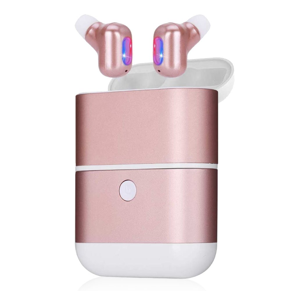 Kitbeez True Wireless Earbuds ,TWS Stereo Earphones Waterproof In-Ear Bluetooth Earbuds with Power Bank and Charging Case ,Built-in Mic Mini Dual Earbuds for Women Sport Running (Rose Gold)