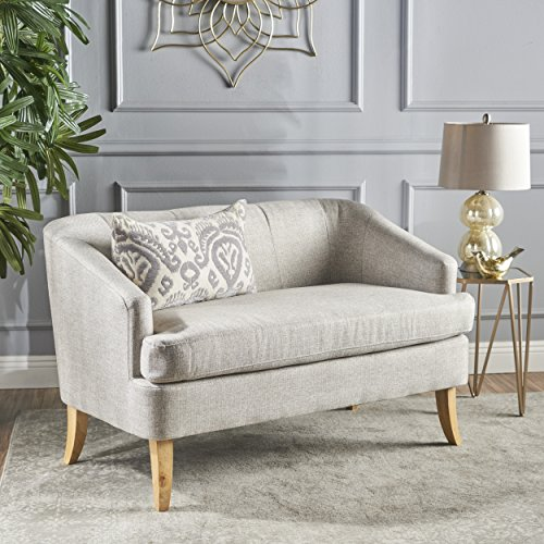 Christopher Knight Home 302073 Shelby Mid Century Modern Fabric Loveseat (Beige) - Fabric Office Loveseat