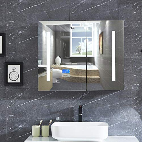 DZWLYX Storage Ottoman Bathroom Mirror Cabinet/Bathroom Mirror Cabinet/Shaver Socket Touch Sensor Demister - And Corner Lights Bathroom Cabinet Mirrors Shaver With Socket