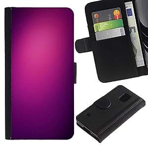 LASTONE PHONE CASE / Lujo Billetera de Cuero Caso del tirón Titular de la tarjeta Flip Carcasa Funda para Samsung Galaxy S5 V SM-G900 / purple light black color clean plum