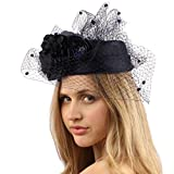Sinamay Pillbox Fishnet Flower Fascinators Millinery Cocktail Derby Cap Hat Navy