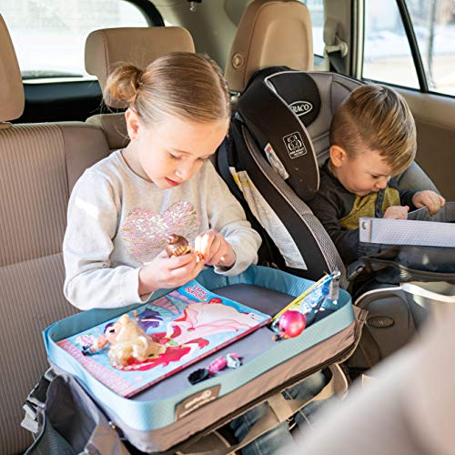 Blue Kids E-Z Travel Lap Desk Tray by Modfamily-Universal Fit for Car Seat, Stroller & Airplane - Organized Access to Drawing, Snacks, and Activities. Includes Bonus Printable Travel Games