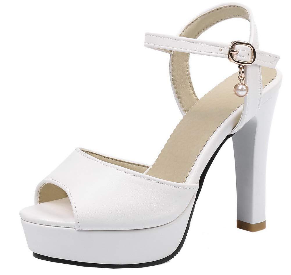AgooLar Femme Blanc à Sandales, Boucle Talon Haut Couleur Unie Boucle Sandales, GMBLB015460 Blanc c83809a - piero.space