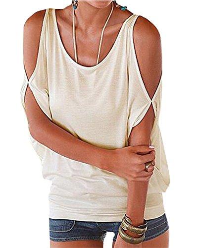 Sexy Donna Canottiere Minetom Maglietta Girocollo Shoulder Camicetta Corta Off Nuovo Bianco Manica xTqwCvq