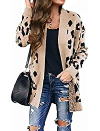 Women's Long Sleeves Open Front Leopard Print Knitted Sweater Cardigan Coat Outwear with Pockets