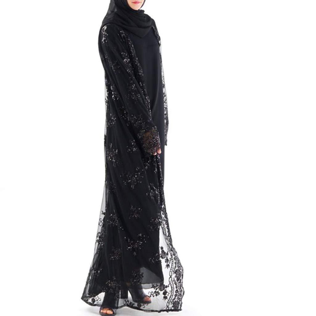 Women's Muslim Clothes Ladies Long Sleeve Casual Saudi Arabic Lace Aftan Dubai Maxi Dress Long Dress