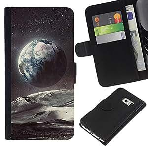 KLONGSHOP // Tirón de la caja Cartera de cuero con ranuras para tarjetas - Planet Space Tierra Arte Estrellas Cosmos - Samsung Galaxy S6 EDGE //