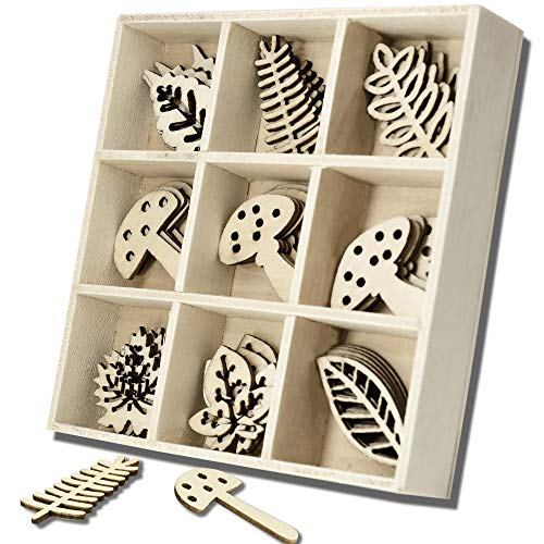 45PCS Wooden Scrapbooking Card Making Embellishments with Storage Box, Mini Laser Cuts Wood Shapes,Wooden Mushroom Leaves Theme Ornaments for Grandkids & Son & Daughter In Law Birthday Gifts From Papa