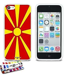 Carcasa Flexible Ultra-Slim APPLE IPHONE 5C de exclusivo motivo [Macedonia Bandera] [Blanca] de MUZZANO  + ESTILETE y PAÑO MUZZANO REGALADOS - La Protección Antigolpes ULTIMA, ELEGANTE Y DURADERA para su APPLE IPHONE 5C