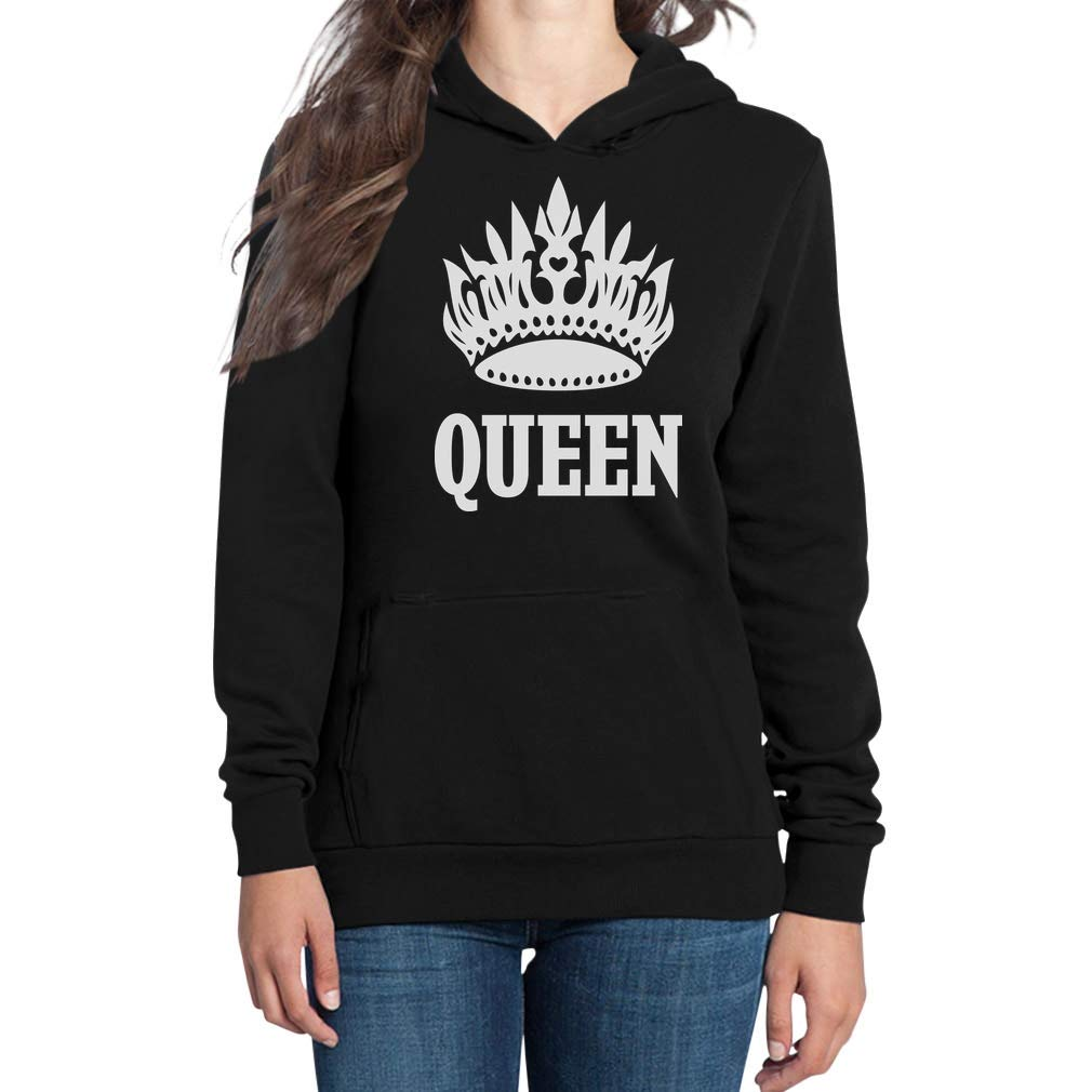 Shirtgeil Queen - Stampa Bianca con Corona e Scritta Felpa con Cappuccio da Donna VSCSDCS6u1hhE