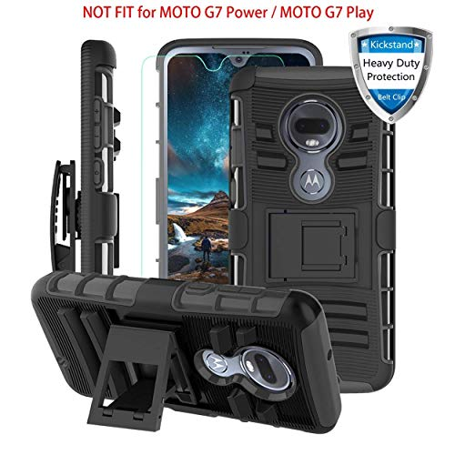 Motorola Moto G7/G7+ Plus Case w/Screen Protector&Built-in Kickstand&Belt Clip[Hybrid Dual Layer][Shockproof Bumper]Rugged Heavy Duty Full Body Hard Armor Protective Phone Case for Moto G7 6.2-Black