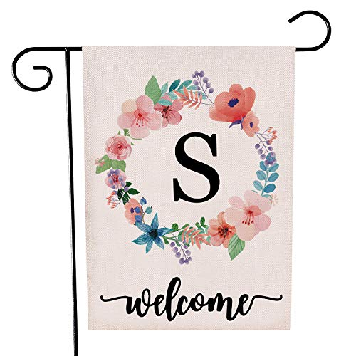 Garden Flag Letter - HomeLove Inc. Classic Monogram Letter S Welcome Garden Flag Banner - 32 x 47 cm Double Sided Burlap Flag for Decorative use Indoor or Outdoor - Hang in Your Front Lawn Fits Garden Flag Pole