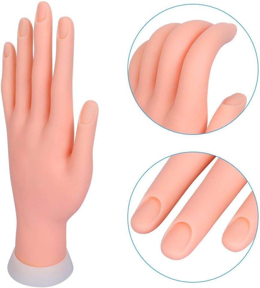 Mano para Practicar Uñas Articulada Flexible Suave Manicura Expositor de Esmaltes sin Uñas de Clavuz