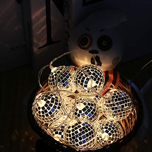 Surething 9.8ft 20LED Disco Ball String Lights for Indoor/Outdoor Halloween Christmas Thanksgiving Home Party Children Bedroom Window Tree Decoration-Warm White -