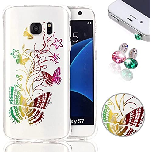 Samsung Galaxy S7 Case, Pershoo New Fashion Butterfly Colorful Printing Degin Case for Galaxy S7 (Luxury Shine Sales