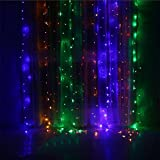LiPing Stars Christmas Hanging Curtain Lights String For Wedding Party Hot For Christmas Party Xmas Wedding Party Garden Decor (Multicolor, 300LED)