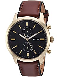 Fossil Men's FS5338 Townsman 44mm Chronograph Light Brown Leather Watch