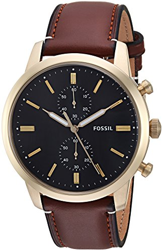 Fossil Men's FS5338 Townsman 44mm Chronograph Light Brown Leather Watch by Fossil