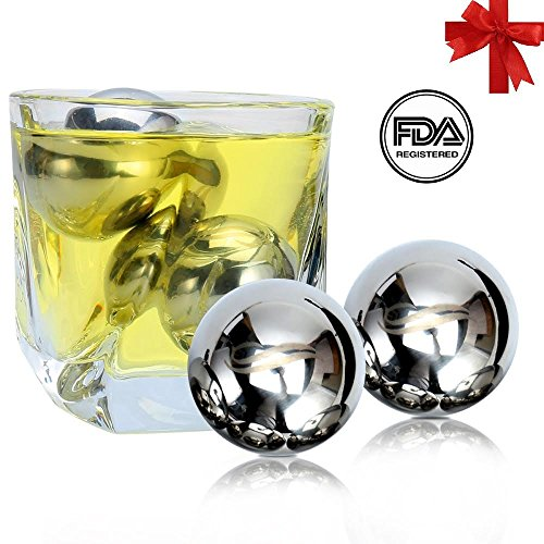 Ball Gift - Unique Solution Reusable Stainless Steel Ice Balls -Set of 4 Big Whiskey Balls with Gift - Whisky, Wine, Beer, Vodka, Champagne, Spirits Chiller & Cooler Cubes and Stones