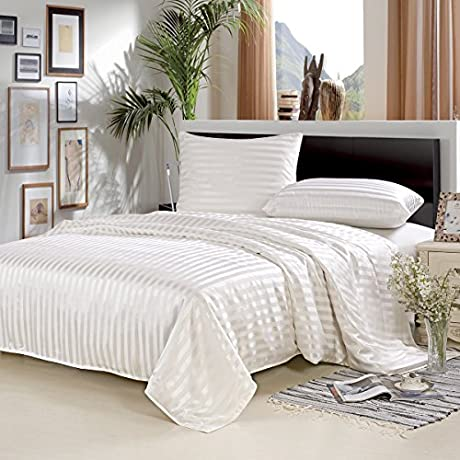 ALASKA BEAR Mulberry Silk Seamless Duvet Cover With Hidden Zipper Closure Hypoallergenic Comforter Cover King Ivory Stripe