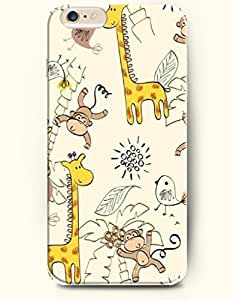 iPhone 6 Plus Case 5.5 Inches Giraffe and Monkey - Hard Back Plastic Case OOFIT Authentic