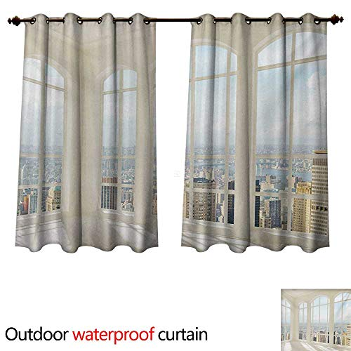 WilliamsDecor Modern Outdoor Curtain for Patio Big White Contemporary Apartment Flat Overlooking The City Urban View Print W63 x L72(160cm x 183cm) ()