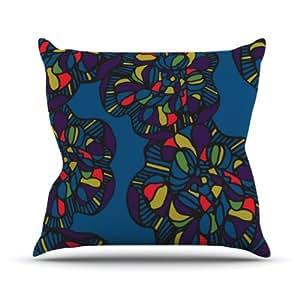 "Kess InHouse Sonal Nathwani ""Mushroom Flower"" Navy Pattern Outdoor Throw Pillow, 18 by 18-Inch"