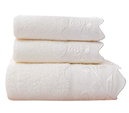 Toalla de algodón de Color sólido Toalla de baño Juego de Regalo de Tres Piezas (